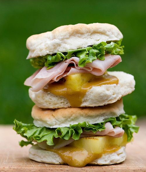 ... : Ham and Pineapple Biscuit Sliders with Spicy Honey Mustard