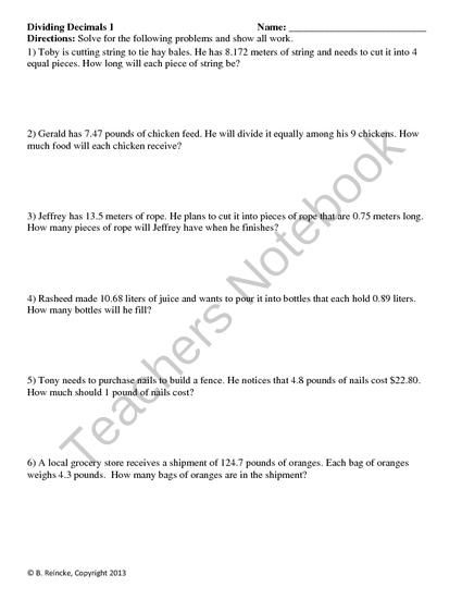 Dividing Decimals Word Problems 2 worksheets from ...