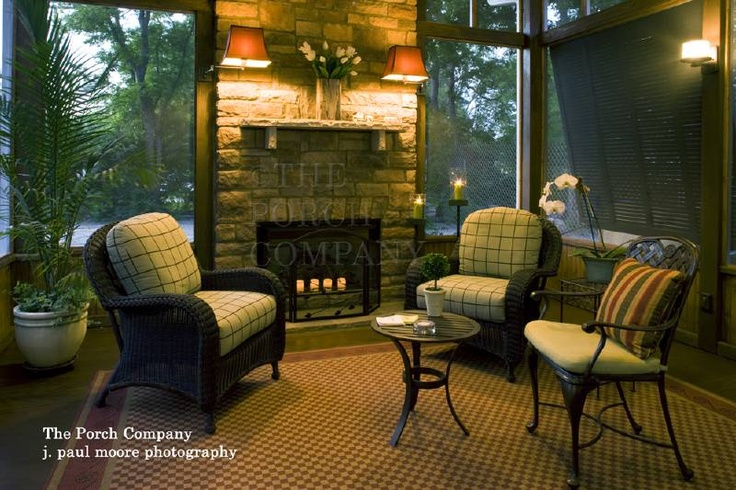 enclosed porch w/fireplace