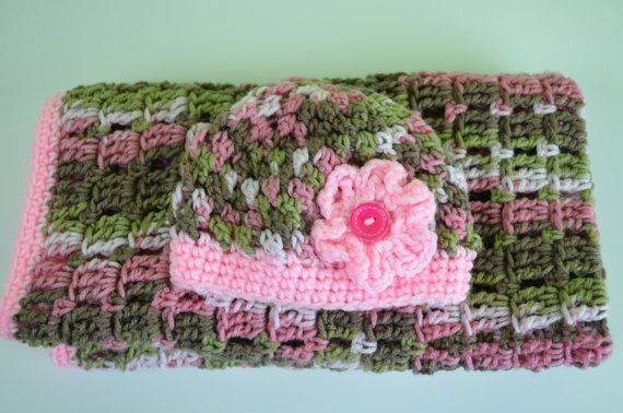 Crochet Baby Blanket and Infant Hat in Pink Camouflage ...