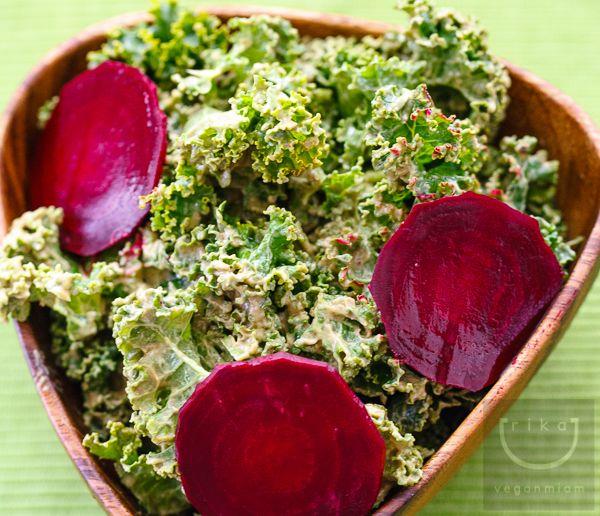 Raw Kale Salad with Creamy Avocado Dressing + Baby Beets | vegan miam