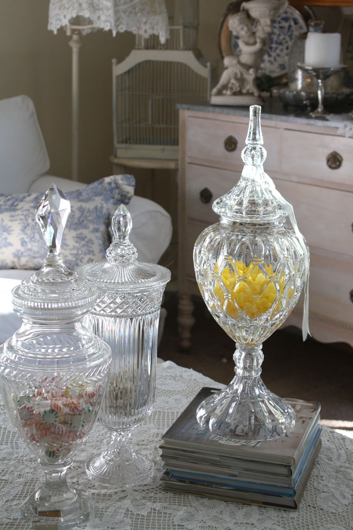crystal apothecary jars decor misc decorating ideas