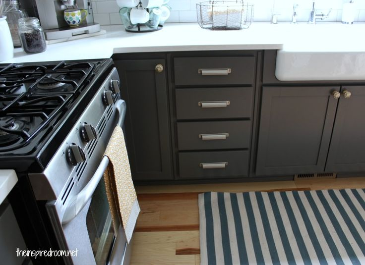 My kitchen cabinet colors before after cabinets for Charcoal gray kitchen cabinets