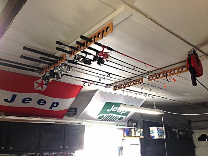 Ceiling rod rack fishing pinterest for Ceiling fishing rod holders