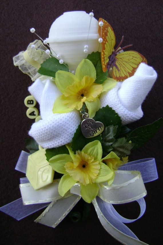 yellow baby shower corsage new mom baby bootie corsage yellow baby