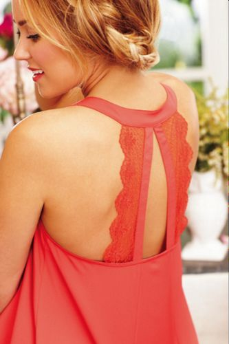 ruffle front tank with shark bite lace detai