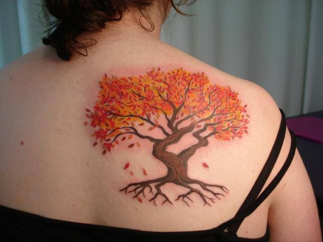 Fall tree tattoo tattoo inspiration pinterest for Fall tree tattoo