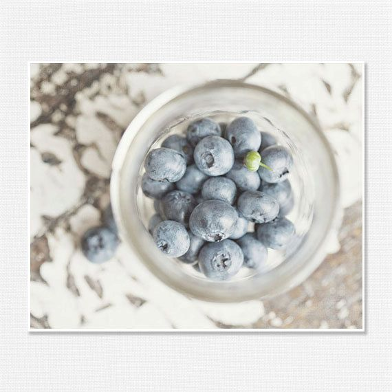 Kitchen Food Print Blueberries Shabby Chic by LisaRussoFineArt