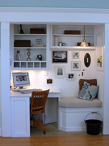 Open up your closet into a small room which can make a great workspace.