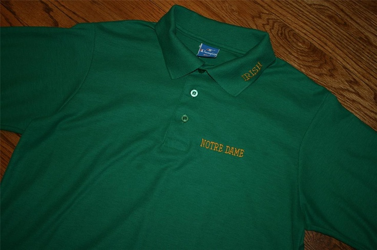 Vintage notre dame irish green football champion polo golf for Notre dame golf shirts