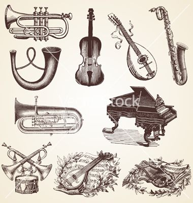 Vintage pack of musical instruments vector - by Marius1987 on ...