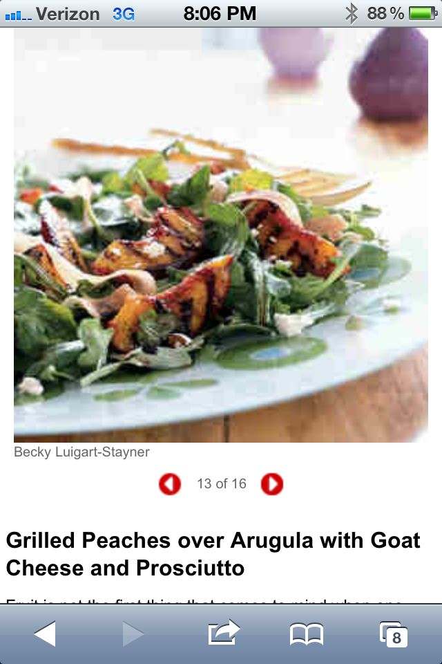 Grilled peaches over arugula with prosciutto and goat cheese Cooking ...