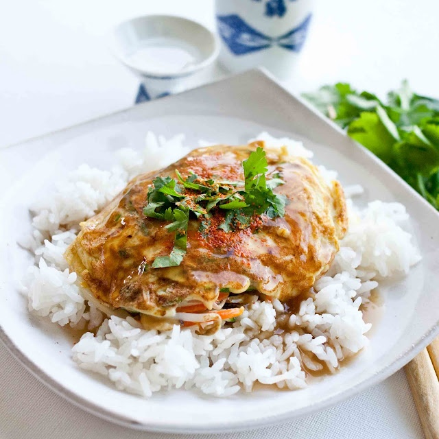 egg foo young! Will need to find a gravy - use 8 eggs not 6
