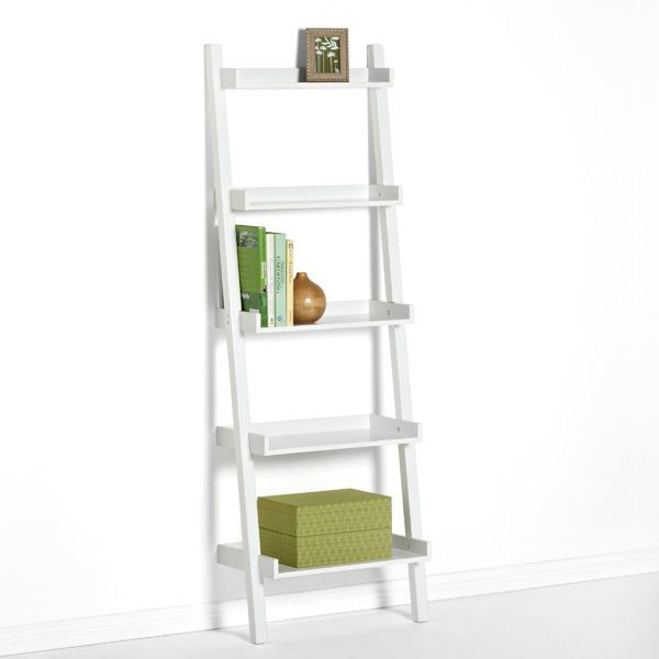White Linea Leaning Bookcase Home Pinterest