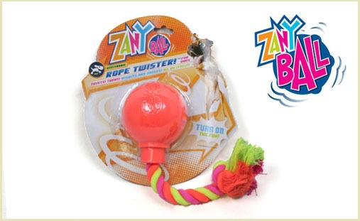 38% off the Zany Ball Rope Twisters which are motorized, motion-activated, wiggly, wobbly toys that roll around randomly while your dog plays