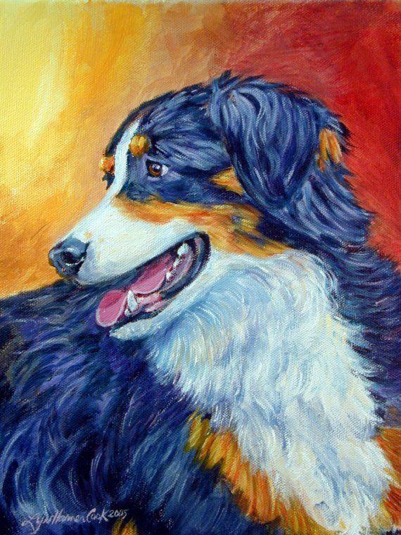 Australian shepherd dog giclee fine art print from my original painti