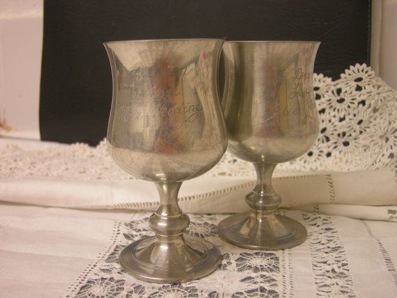 Old English Goblets  Silver Wedding Jubilee Gift by zofiVintage, £30.00