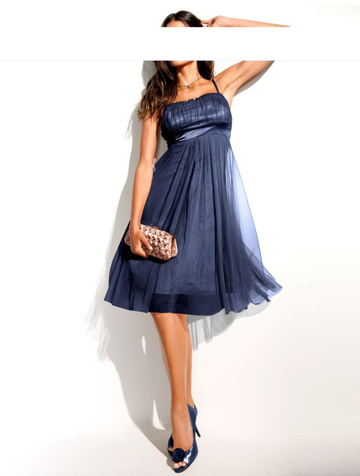 Babydoll Abendkleid, Länge: 98cm, dunkelblau, Gr.38  eBay
