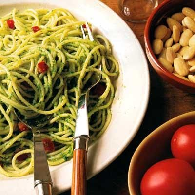 Spaghetti with Parsley Almond Pesto | Recipe