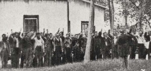 Confederate soldiers taking the oath of allegiance at Rock Island.  Gathered are some of the 12,192 Confederate soldiers who passed through the prisoner-of-war camp on rock Island during the Civil War.