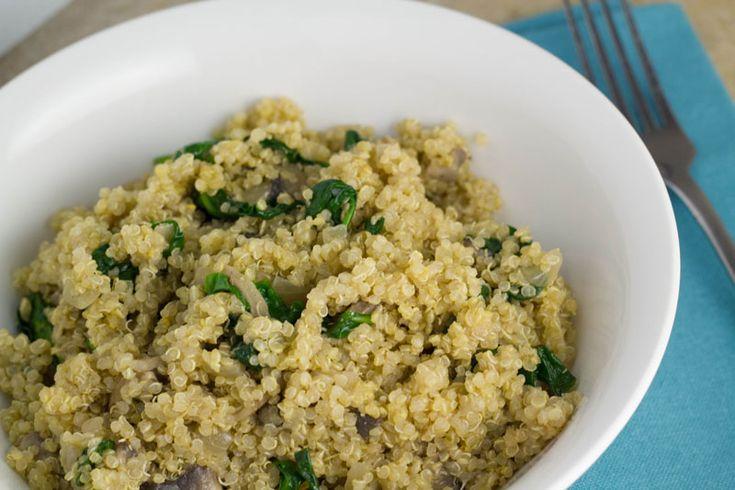 and spinach quinoa risotto - onion, mushrooms, white wine, quinoa ...