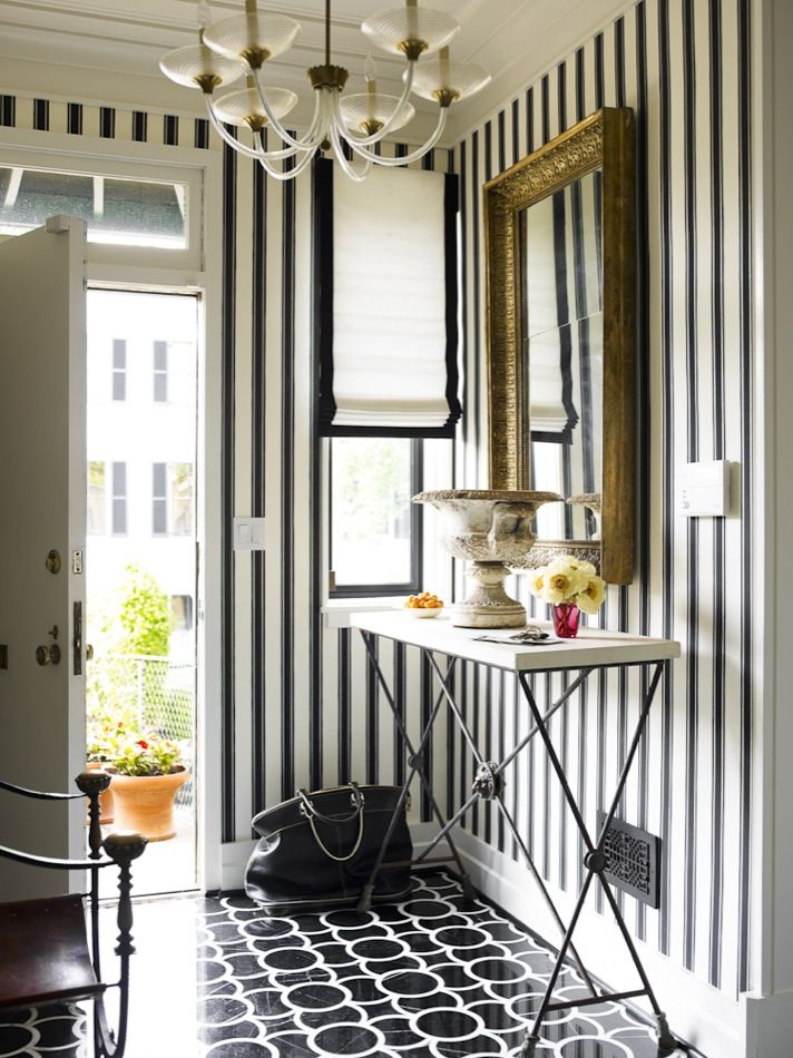 Hillary Thomas interiors  black and white stripes, entry