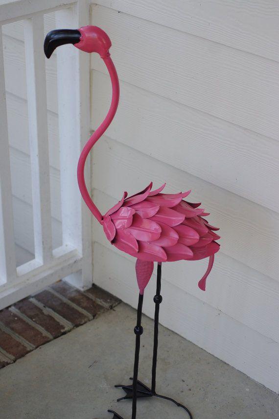 Metal Pink Flamingo Lawn Ornament Garden Decor