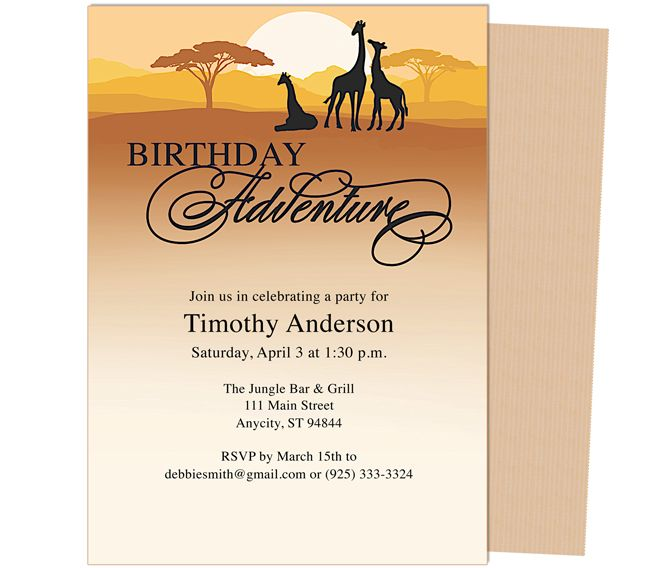 Serengeti Birthday Invitation Template, An adventure party Templates ...