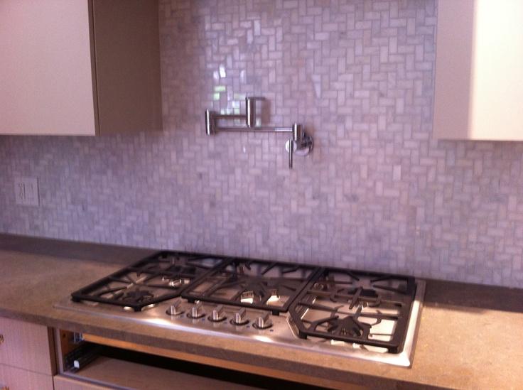 backsplash range top and faucet kitchen pinterest