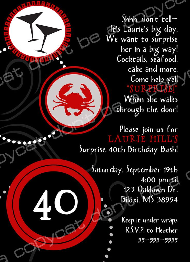 40th Birthday Invite Wording Surprise Lordy Lordy Forty