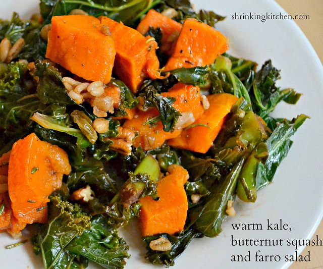 warm kale, butternut squash and farro salad by Heather@MamaSass, via ...