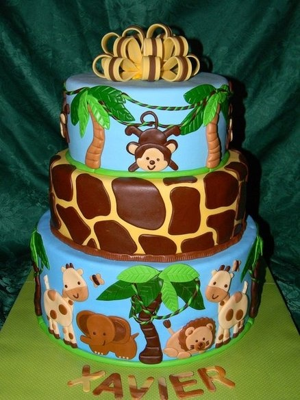 Safari themed baby shower cake! - by TraciLynn @ CakesDecor.com - cake decorating website