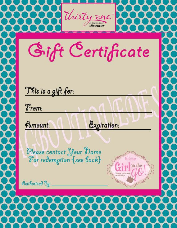 Thirty One Gift Certificate teal mod dot by JamiesBagBoutique | 31 ...