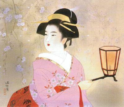 伊東深水 春宵 1955年頃 物故日本画家-伊東深水(1898-1972)