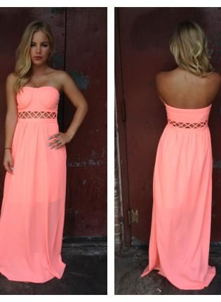 Coral maxi dress strapless