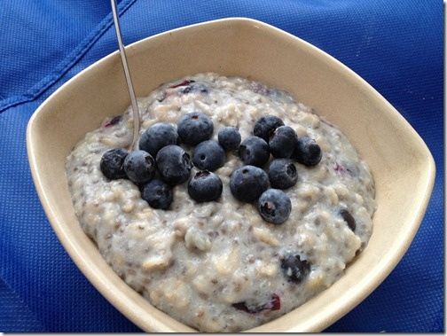 Blueberry Muffin Oatmeal--usually I only have oatmeal, maaaybe, at YW ...
