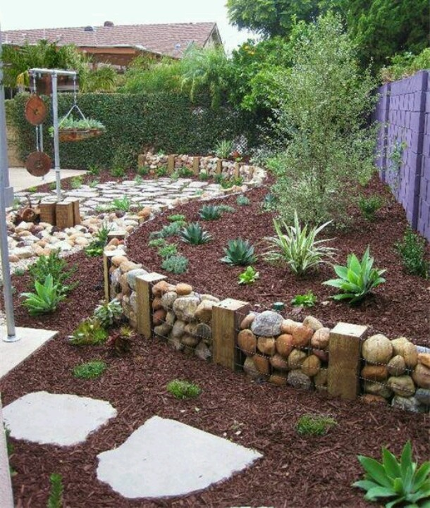future river rock flower bed ideas | New Retaining Wall | Pinterest