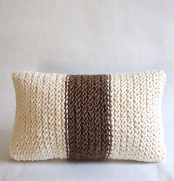 Chunky knit decorative throw pillow ooak knit by hand