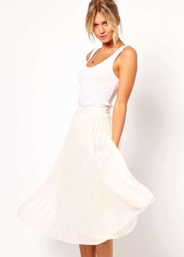 white high waist pleated chiffon skirt clothes