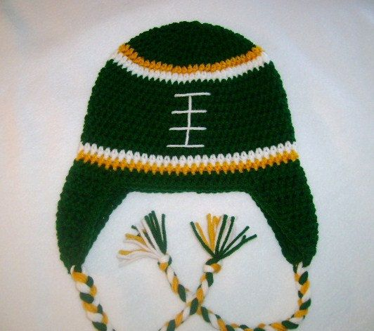 Crochet Pattern Green Bay Packer Afghan : Green Bay Packer Crocheted Hat Available in Any Size