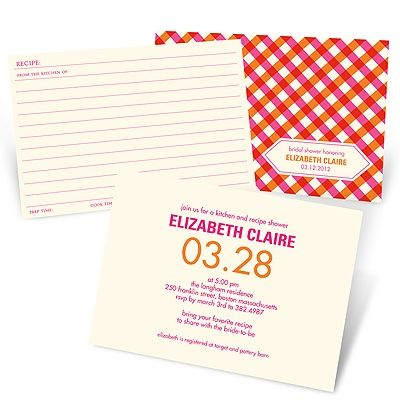 Ingredients for Love -- Recipe Bridal Shower Invitations