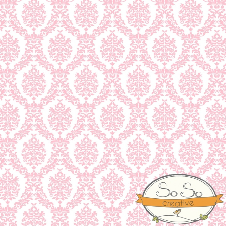 Photography Backdrop Damask Light Pink and White