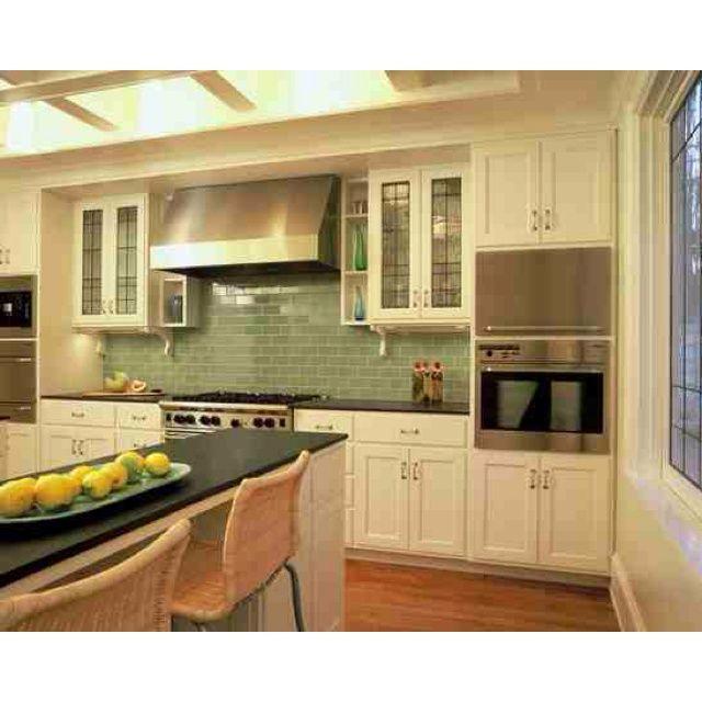 Green subway tile backsplash home pinterest for Green subway tile kitchen backsplash