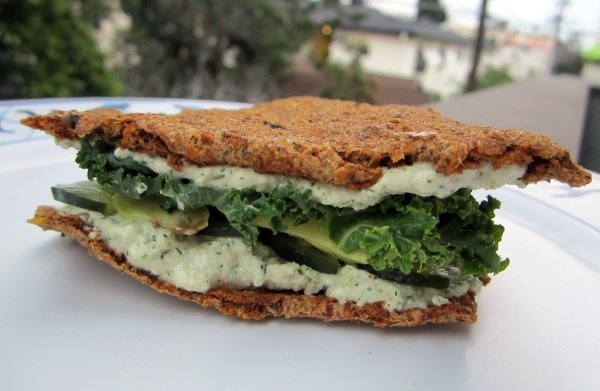 Raw Onion Lentil Bread Sandwich with Kale, Avocado, RawRanch, Pickled ...