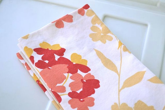 Fall Flowers Cloth Napkins Set of 6 by Dot and Army by dotandarmy, $32.00