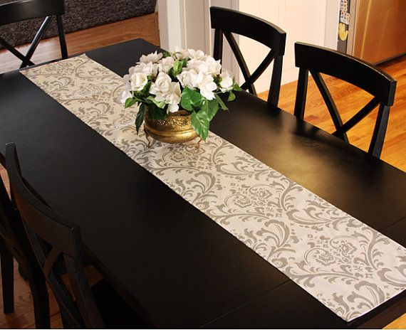 Table Runner - White and Grey Damask Table Runners Damask Table ...