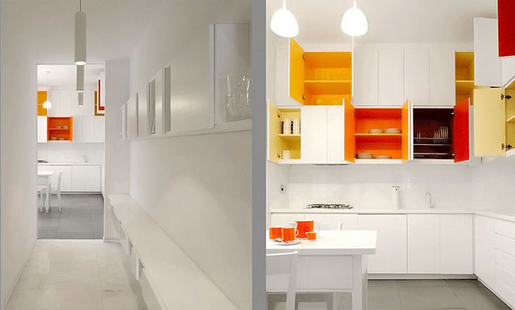 Paint Bright Colors Inside Your White Kitchen Cabinets Improvised