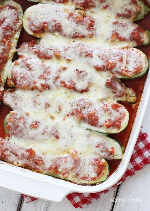 turkey sausage-stuffed zucchini boats | Keto? | Pinterest