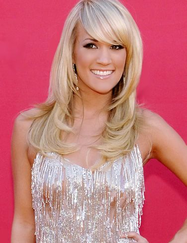love her hair...........................Carrie Underwood Long Layered Blonde Hair with side swept bangs