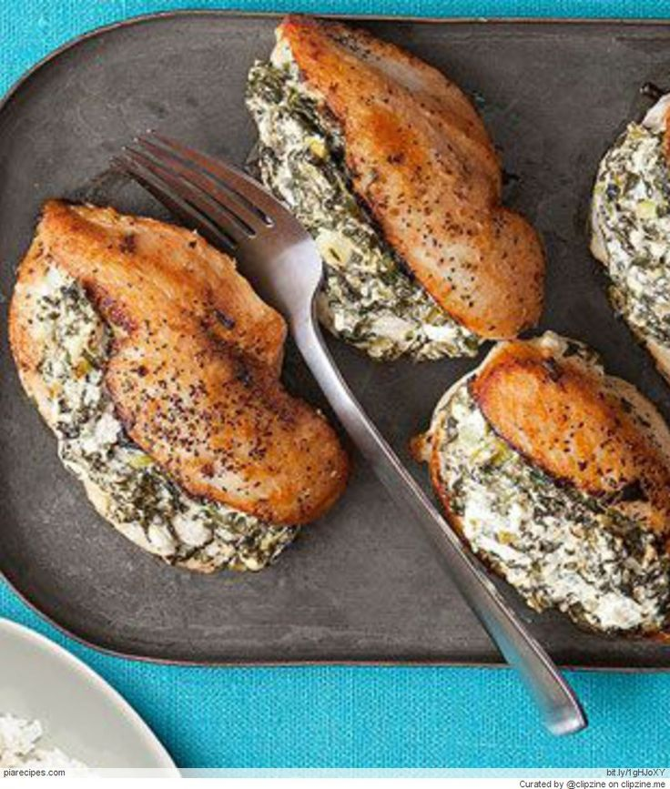 Spinach and feta stuffed chicken breasts | Yum | Pinterest